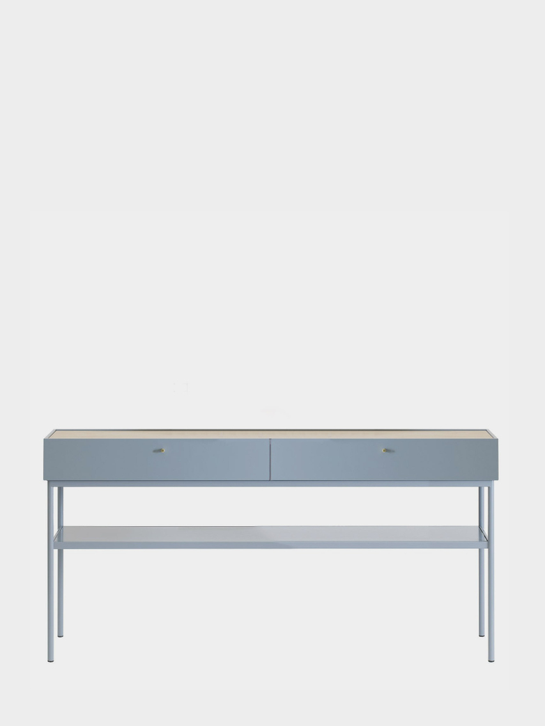 LUC Console 160 - Nordic Blue - White Stained Oak