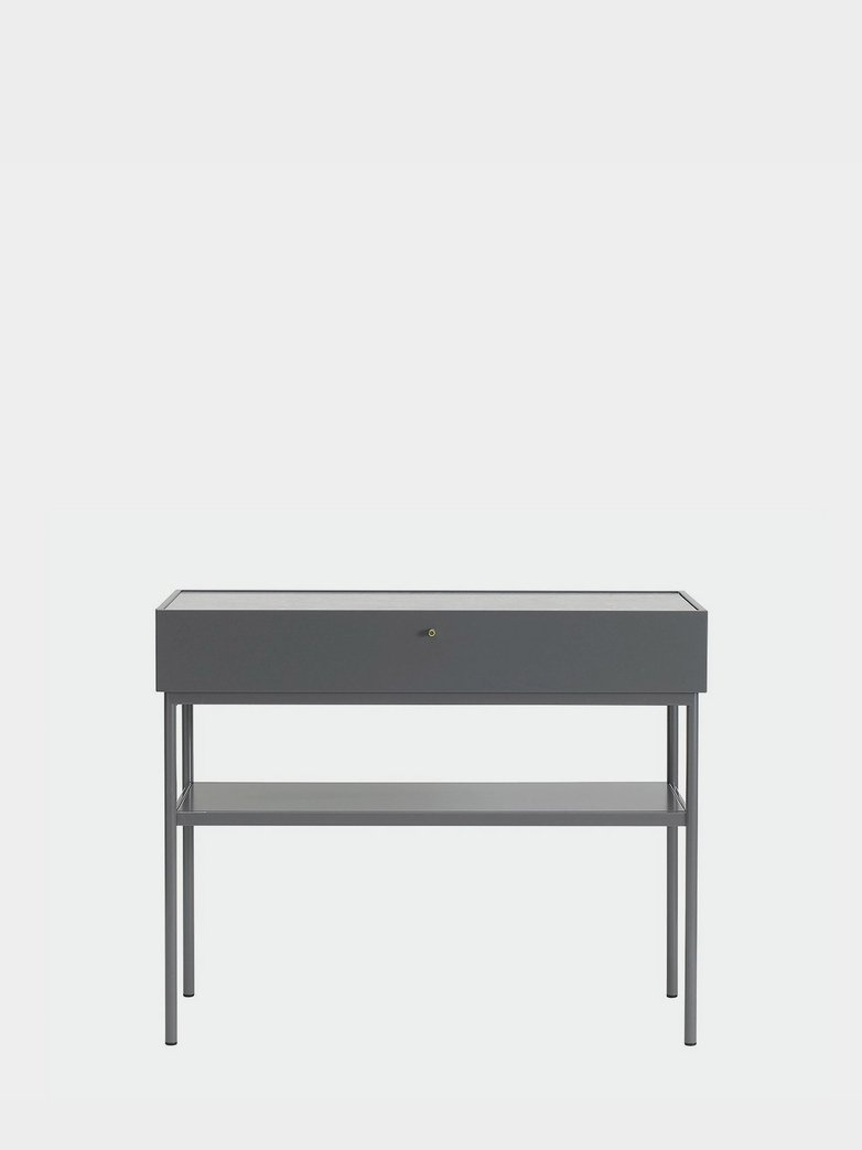 LUC Console 100 - Storm Grey - Black Walnut Stained Oak