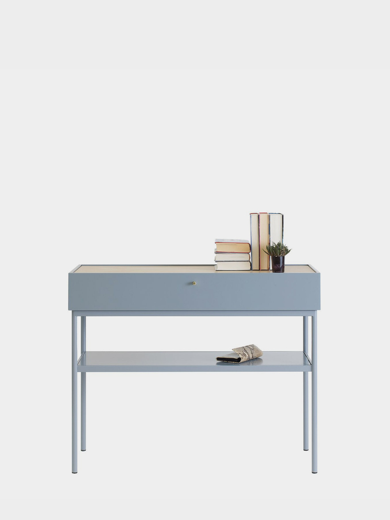 LUC Console 100 - Nordic Blue - Natural Stained Oak