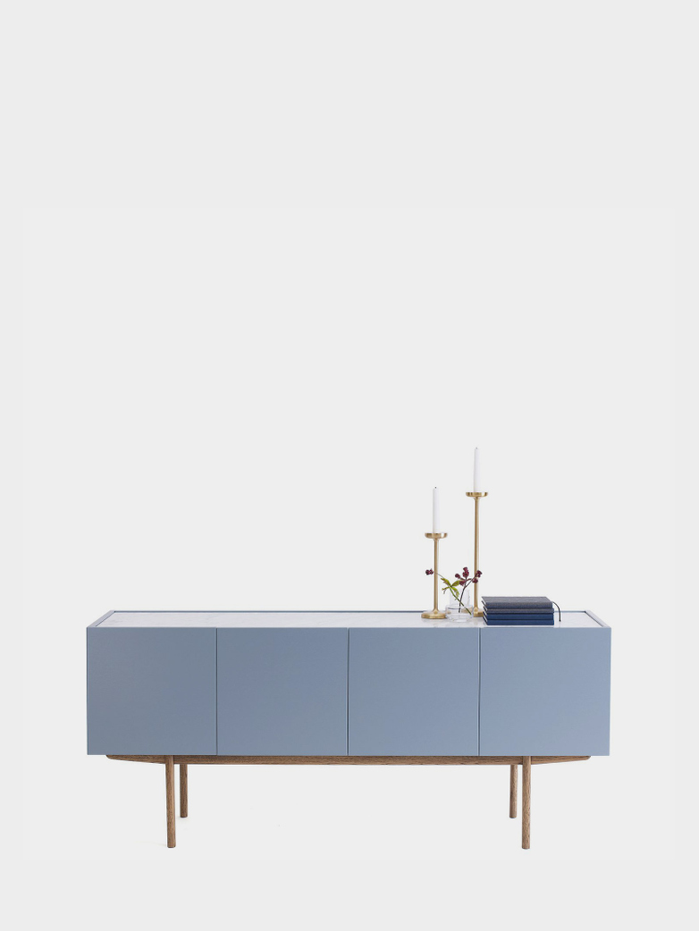 LUC Deluxe 160 - Nordic Blue - Black Walnut Stained Oak - Carrara Marble