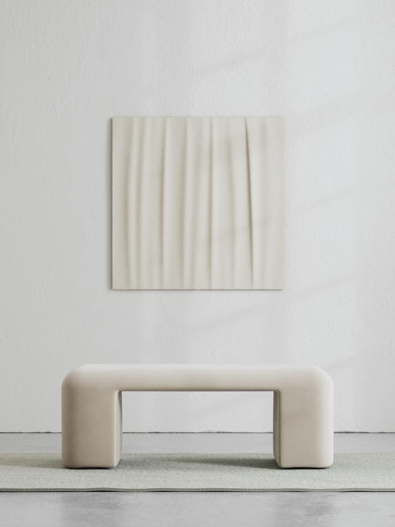 LA Bench - Velvet True Greige - 120 cm