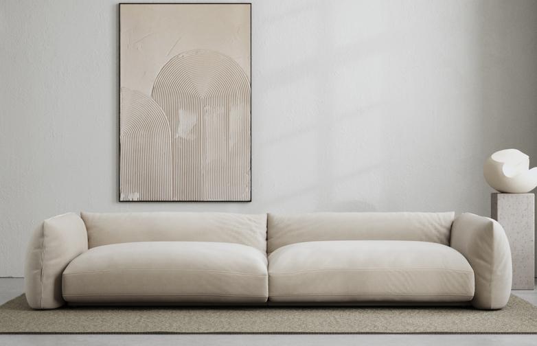LA Sofa - Velvet True Greige - 290 cm