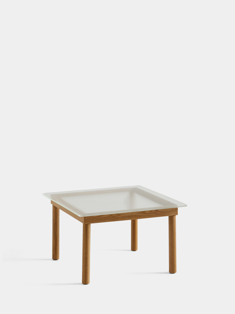Kofi Coffee Table - Lacquered Oak/Clear Reeded Glass - 60 x 60 cm