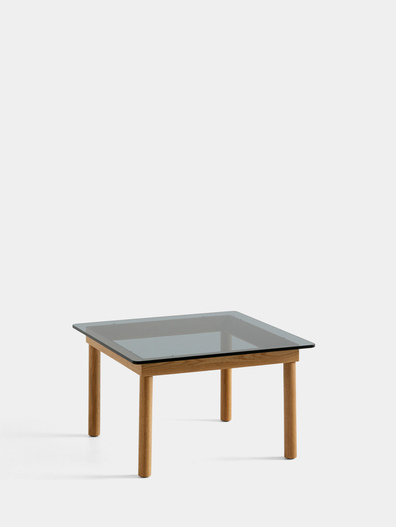 Kofi Coffee Table - Lacquered Oak/Grey Tinted Glass - 60 x 60 cm