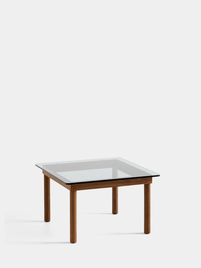Kofi Coffee Table - Lacquered Walnut/Clear Glass - 60 x 60 cm