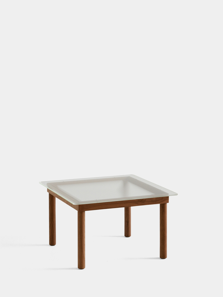 Kofi Coffee Table - Lacquered Walnut/Clear Reeded Glass - 60 x 60 cm