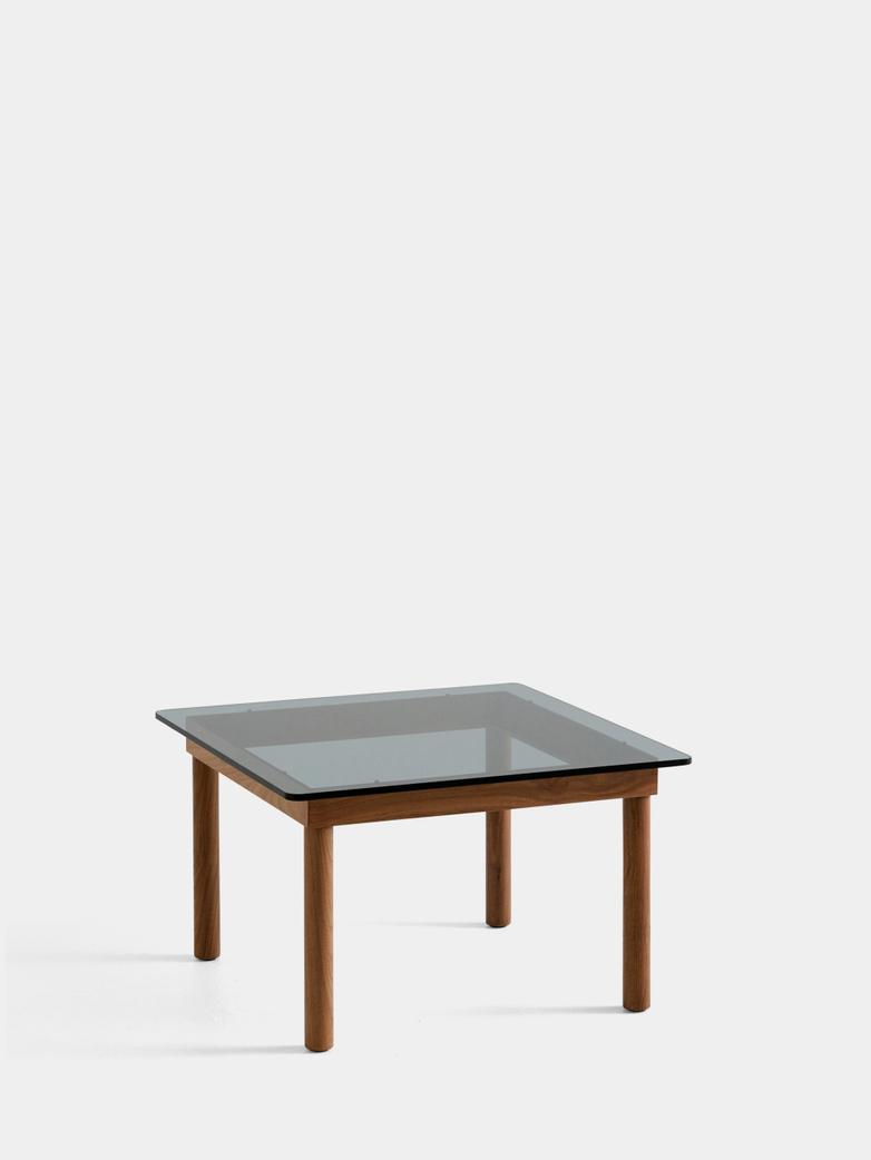 Kofi Coffee Table - Lacquered Walnut/Grey Tinted Glass - 60 x 60 cm