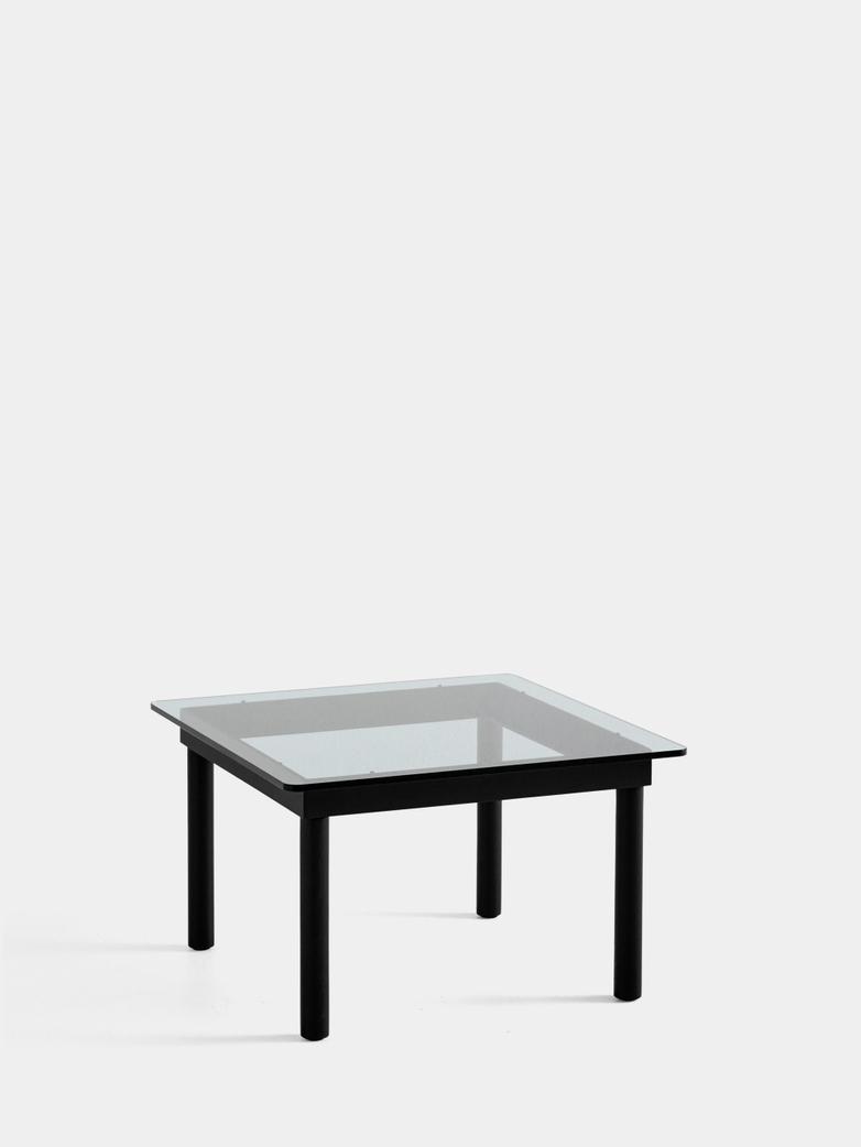 Kofi Coffee Table - Black Lacquered Oak/Clear Glass - 60 x 60 cm