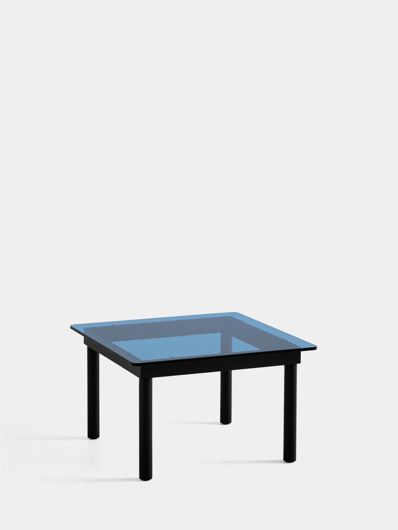 Kofi Coffee Table - Black Lacquered Oak/Blue Tinted Glass - 60 x 60 cm