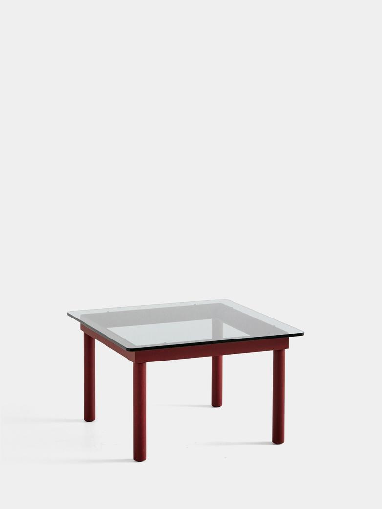 Kofi Coffee Table - Barn Red Lacquered Oak/Clear Glass - 60 x 60 cm
