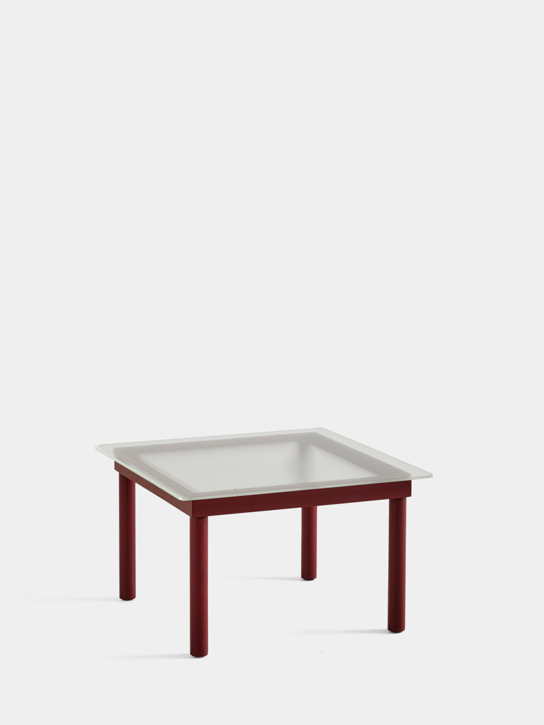 Kofi Coffee Table - Barn Red Lacquered Oak/Clear Reeded Glass - 60 x 60 cm