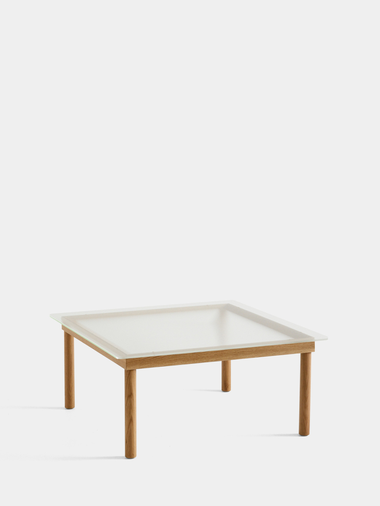 Kofi Coffee Table - Lacquered Oak/Clear Reeded Glass - 80 x 80 cm