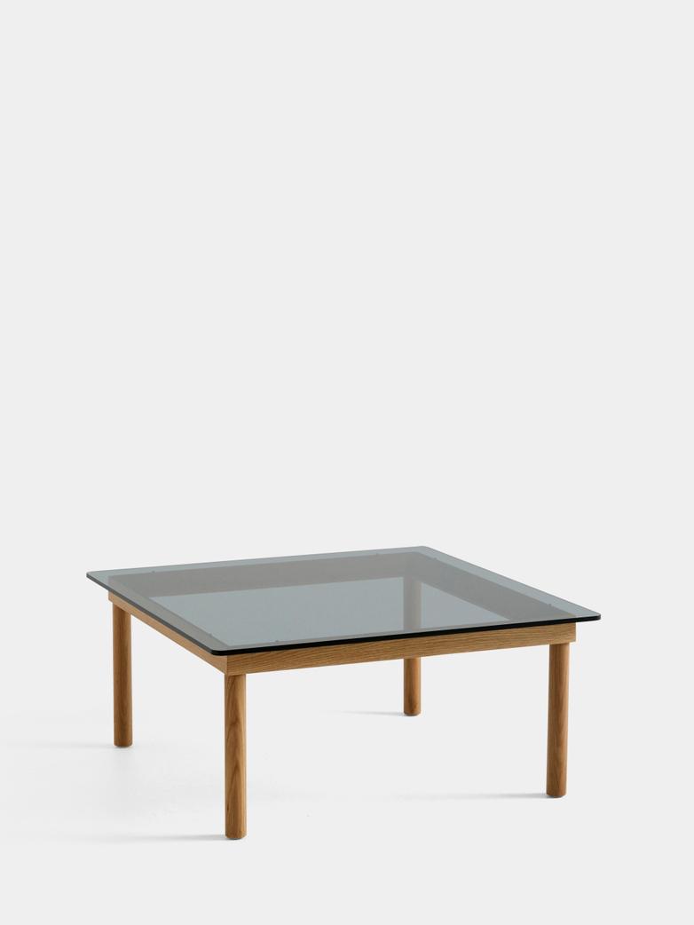 Kofi Coffee Table - Lacquered Oak/Grey Tinted Glass - 80 x 80 cm