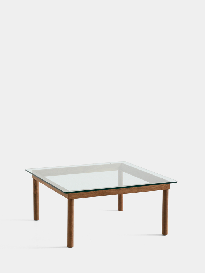 Kofi Coffee Table - Lacquered Walnut/Clear Glass - 80 x 80 cm