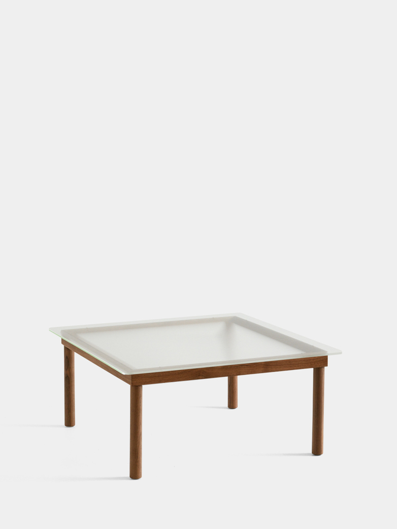 Kofi Coffee Table - Lacquered Walnut/Clear Reeded Glass - 80 x 80 cm