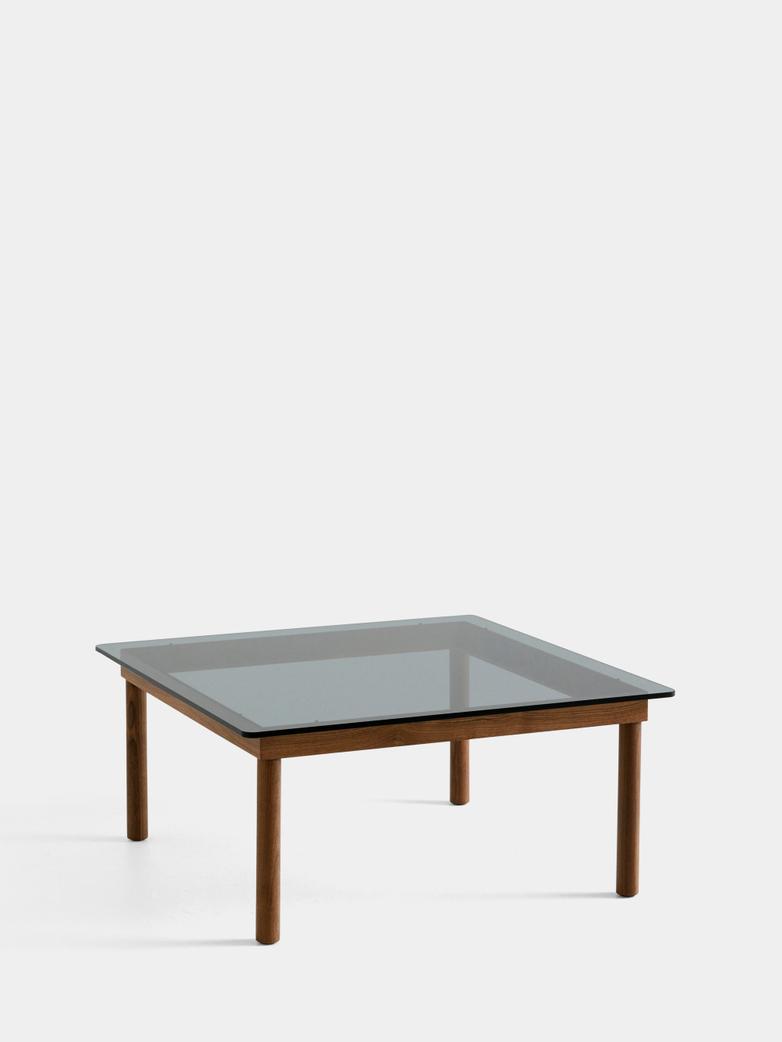 Kofi Coffee Table - Lacquered Walnut/Grey Tinted Glass - 80 x 80 cm