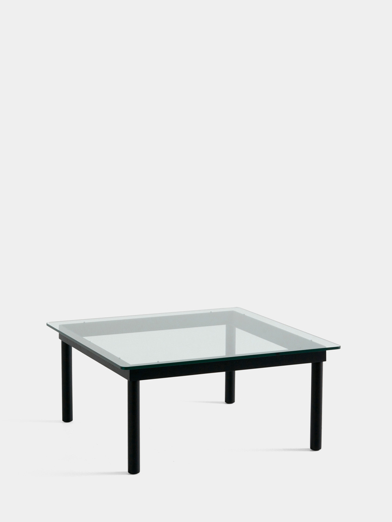 Kofi Coffee Table - Black Lacquered Oak/Clear Glass - 80 x 80 cm