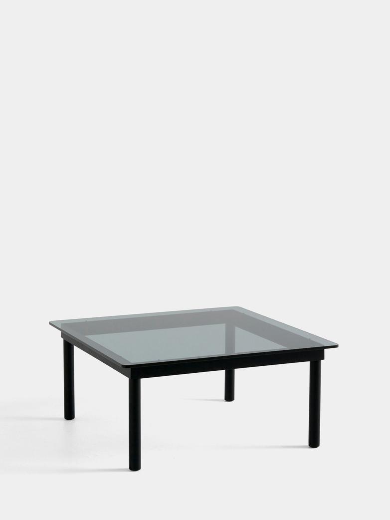 Kofi Coffee Table - Black Lacquered Oak/Grey Tinted Glass - 80 x 80 cm