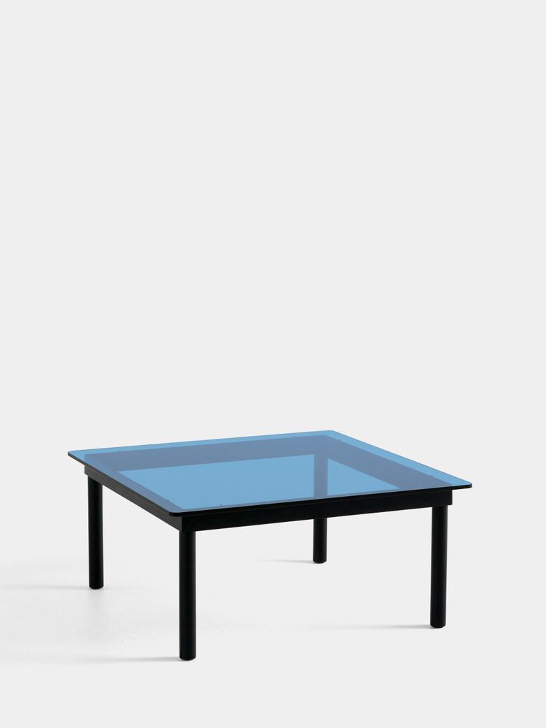 Kofi Coffee Table - Black Lacquered Oak/Blue Tinted Glass - 80 x 80 cm