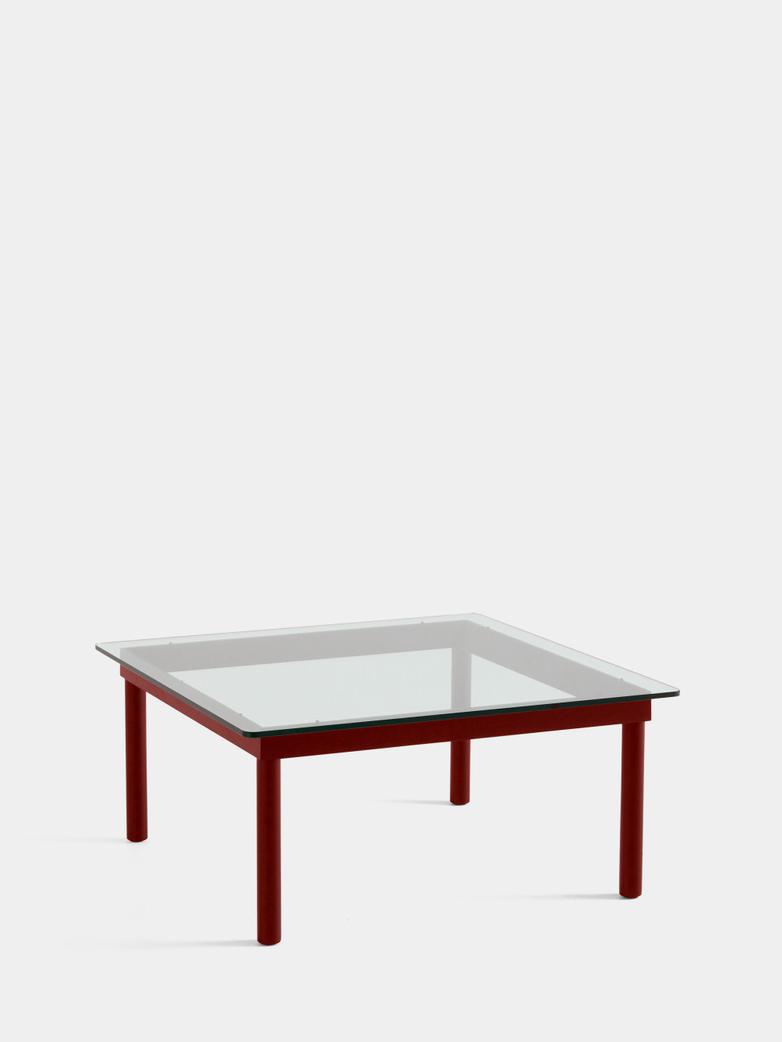 Kofi Coffee Table - Barn Red Lacquered Oak/Clear Glass - 80 x 80 cm