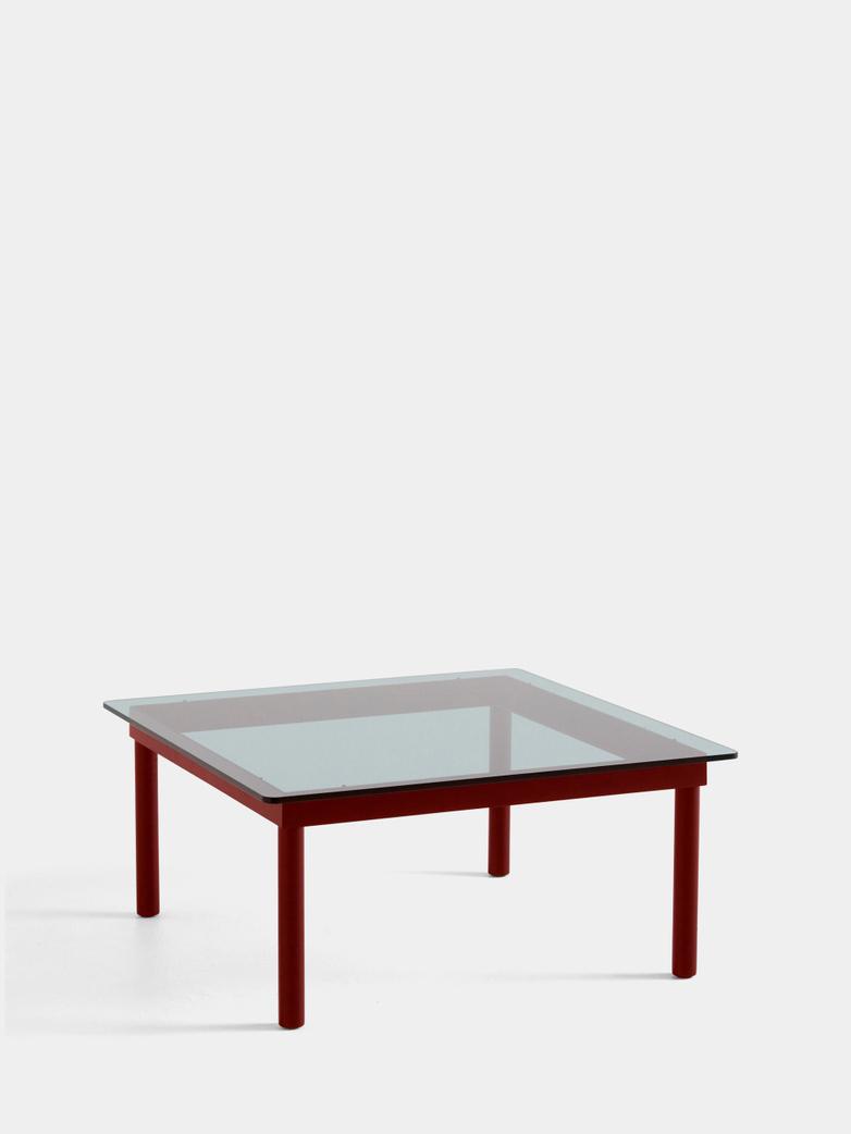 Kofi Coffee Table - Barn Red Lacquered Oak/Grey Tinted Glass - 80 x 80 cm