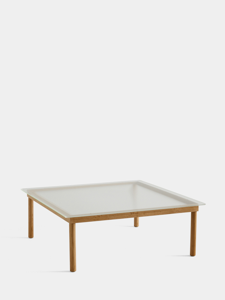 Kofi Coffee Table - Lacquered Oak/Clear Reeded Glass - 100 x 100 cm