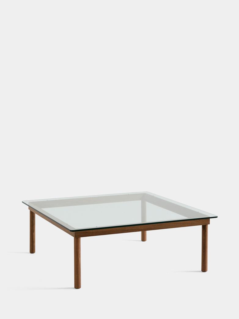 Kofi Coffee Table - Lacquered Walnut/Clear Glass - 100 x 100 cm