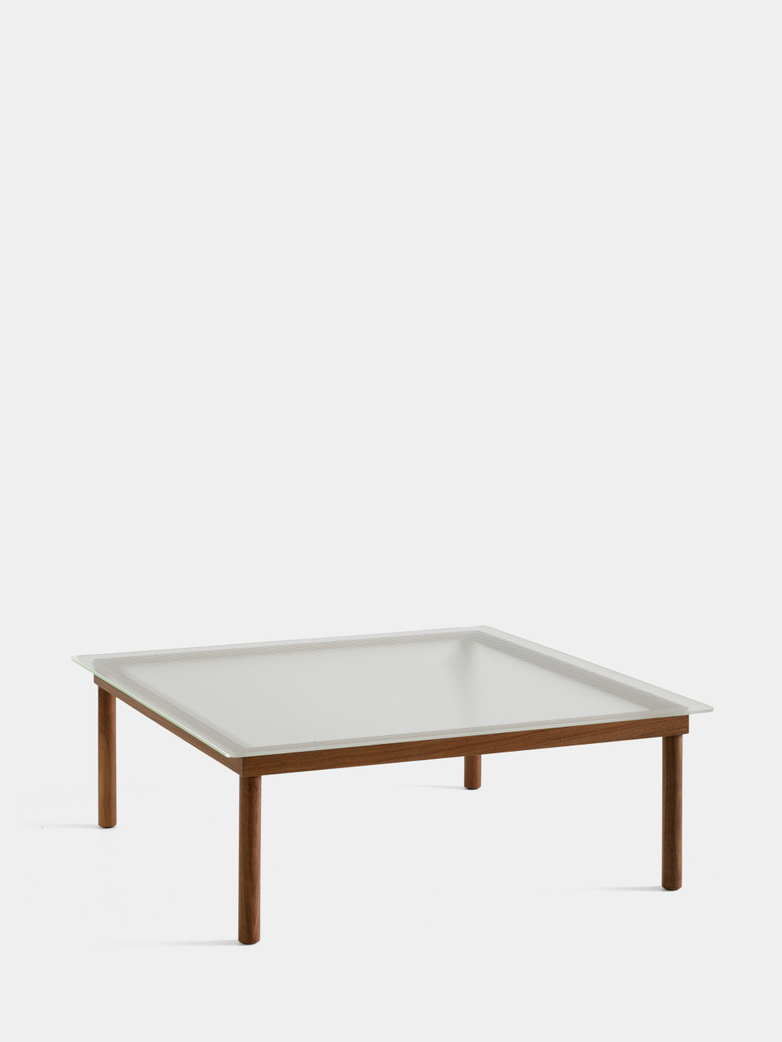 Kofi Coffee Table - Lacquered Walnut/Clear Reeded Glass - 100 x 100 cm