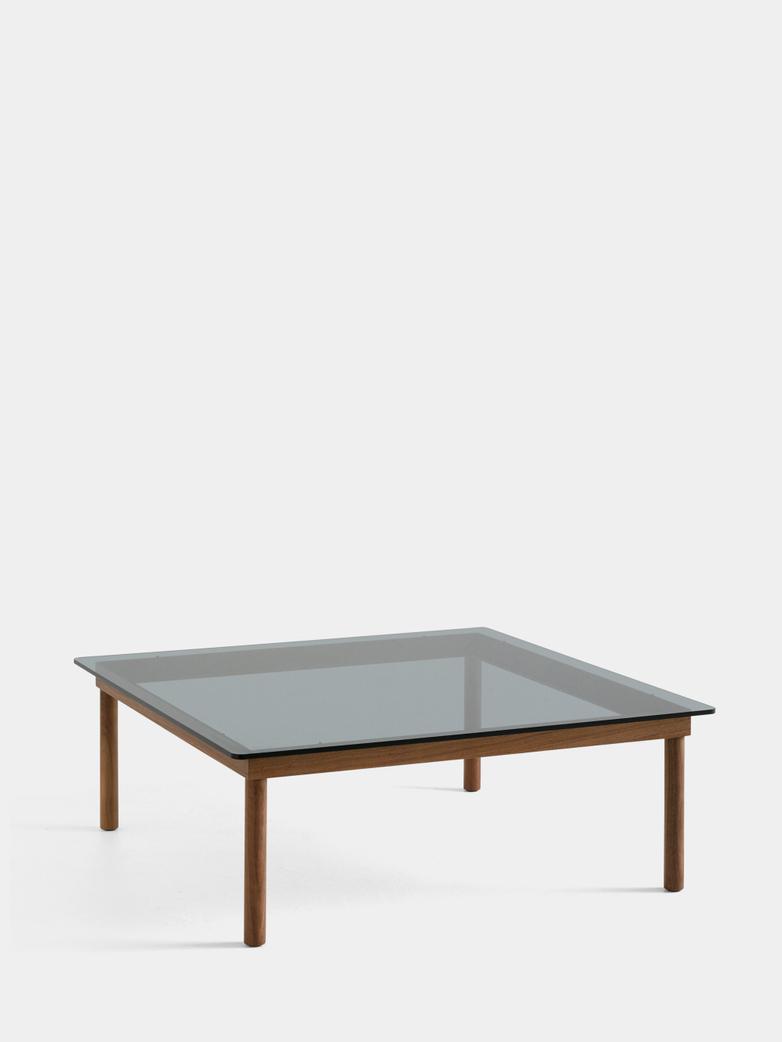 Kofi Coffee Table - Lacquered Walnut/Grey Tinted Glass - 100 x 100 cm