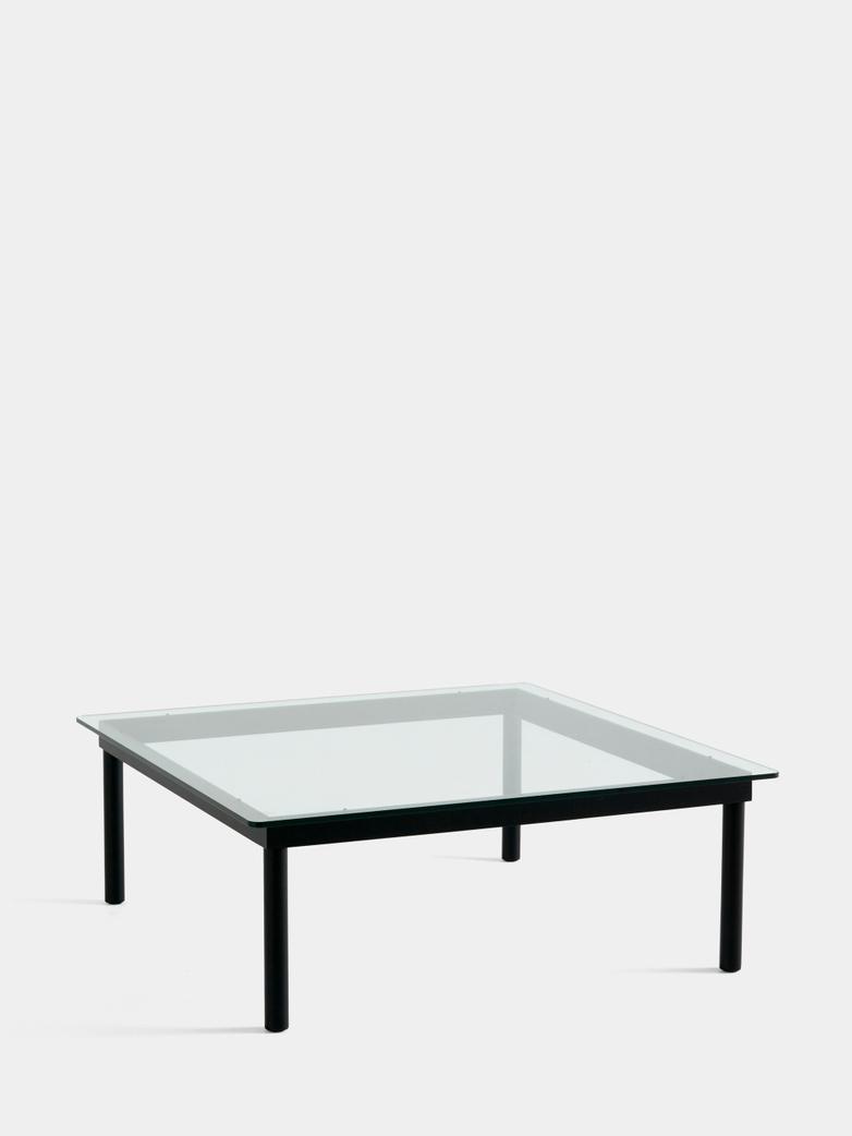 Kofi Coffee Table - Black Lacquered Oak/Clear Glass - 100 x 100 cm