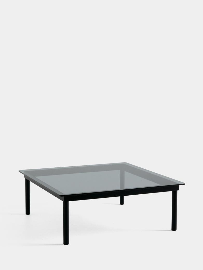 Kofi Coffee Table - Black Lacquered Oak/Grey Tinted Glass - 100 x 100 cm