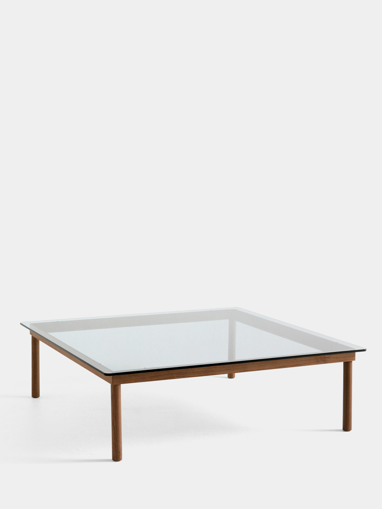 Kofi Coffee Table - Lacquered Walnut/Clear Glass - 120 x 120 cm