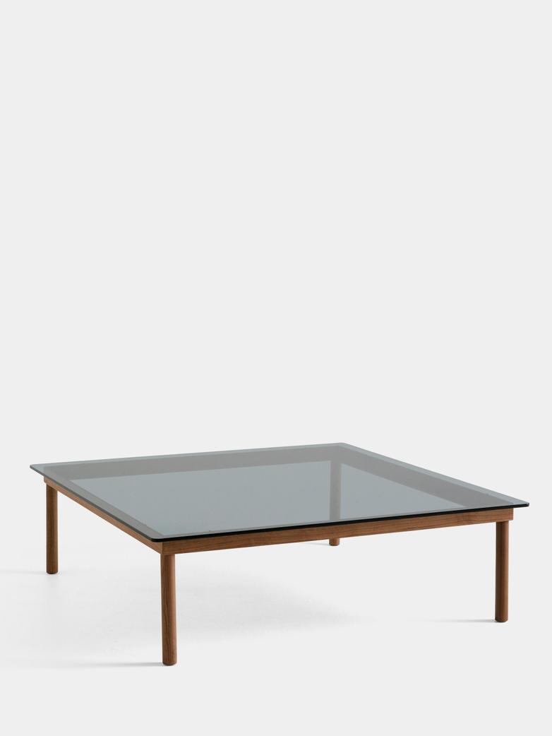 Kofi Coffee Table - Lacquered Walnut/Grey Tinted Glass - 120 x 120 cm