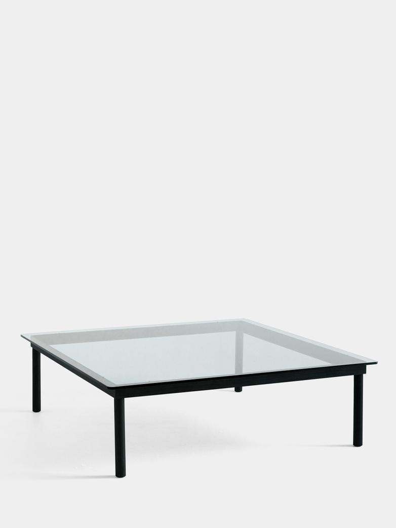 Kofi Coffee Table - Black Lacquered Oak/Clear Glass - 120 x 120 cm