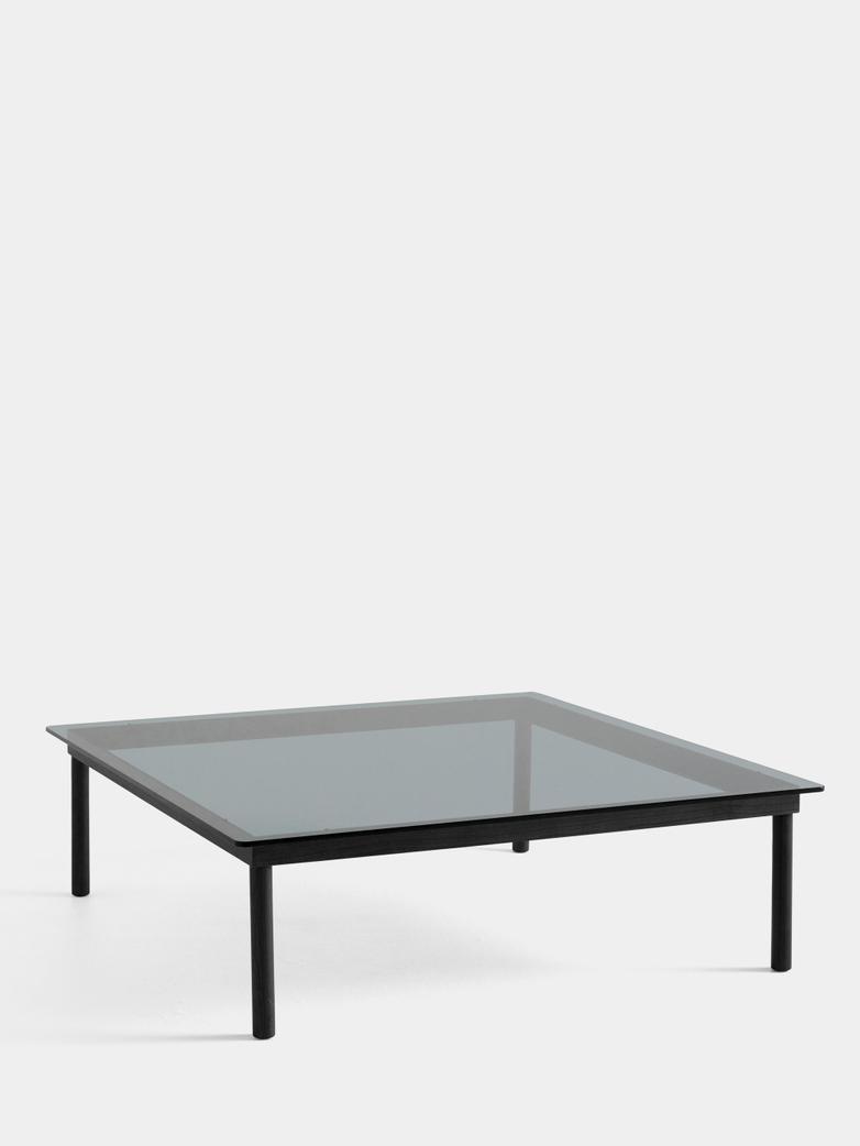 Kofi Coffee Table - Black Lacquered Oak/Grey Tinted Glass - 120 x 120 cm