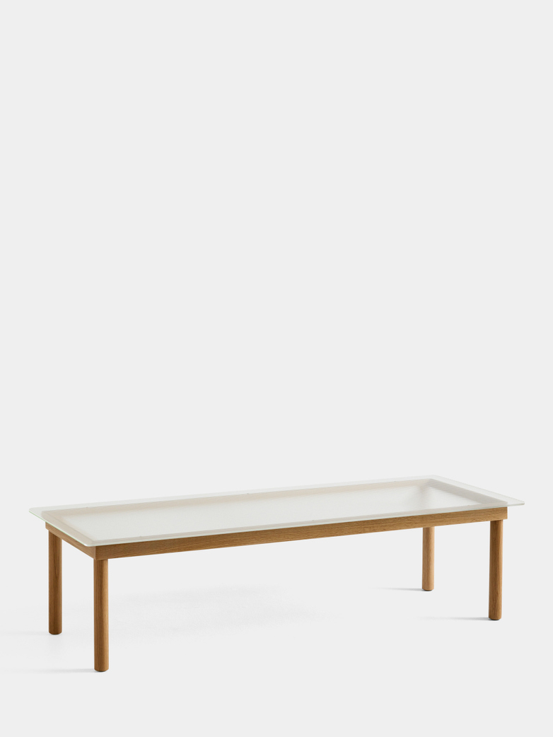 Kofi Coffee Table - Lacquered Oak/Clear Reeded Glass - 140 x 50 cm