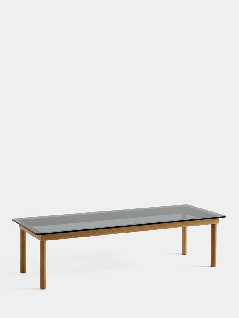 Kofi Coffee Table - Lacquered Oak/Grey Tinted Glass - 140 x 50 cm