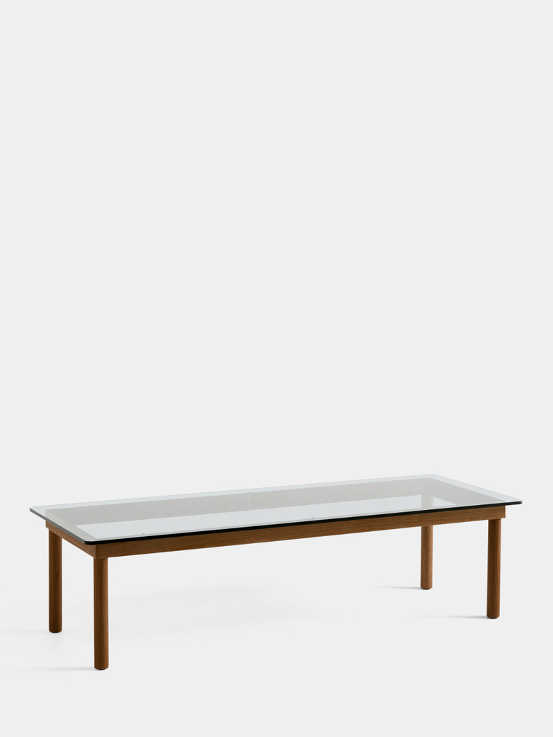 Kofi Coffee Table - Lacquered Walnut/Clear Glass - 140 x 50 cm