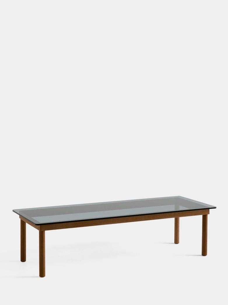 Kofi Coffee Table - Lacquered Walnut/Grey Tinted Glass - 140 x 50 cm