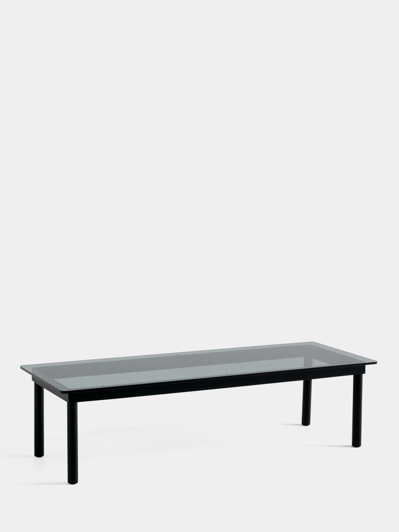 Kofi Coffee Table - Black Lacquered Oak/Grey Tinted Glass - 140 x 50 cm