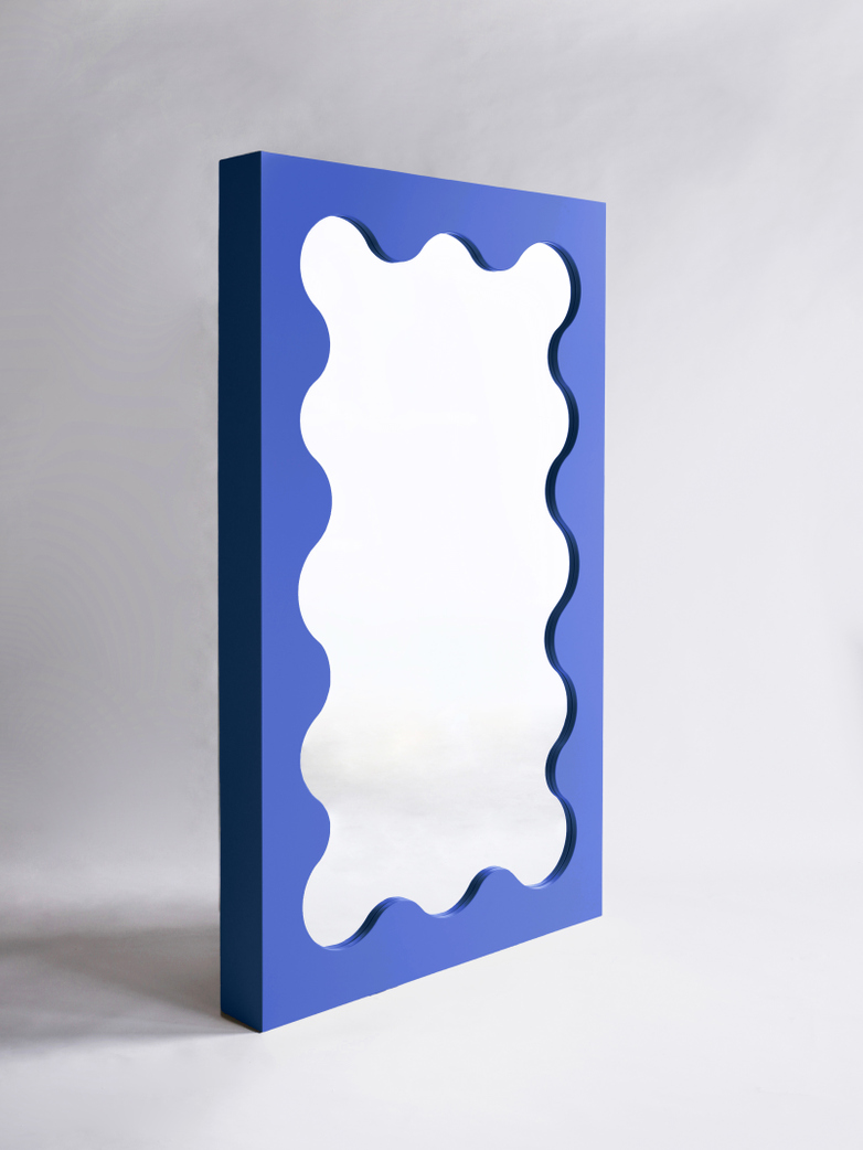 Curvy Mirror - Cobalt Blue
