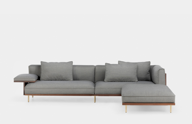 Long Sofa with Chaise Longue - Oiled Walnut - Canvas