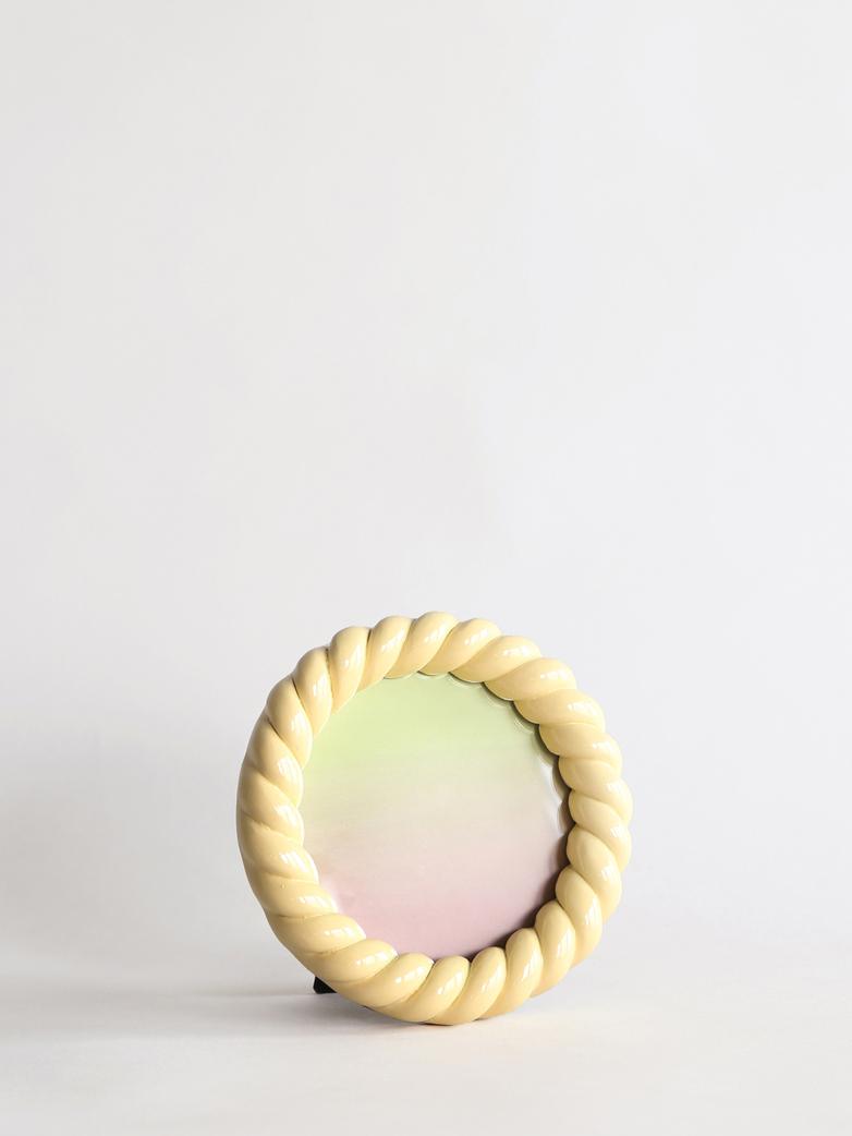 Braid Photo Frame Round - Yellow