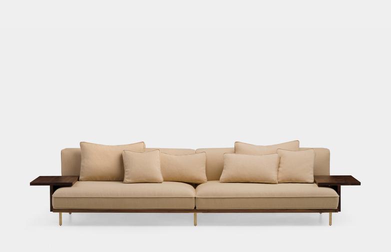 Long Sofa With Two Flat Armrests - Oiled Walnut - Vidar