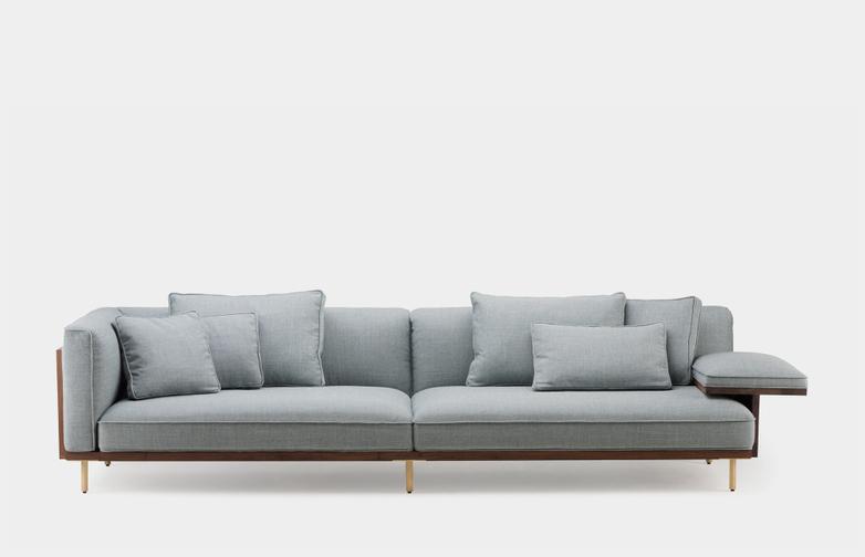Long Sofa With One Flat Armrest - Oiled Walnut - Sunniva