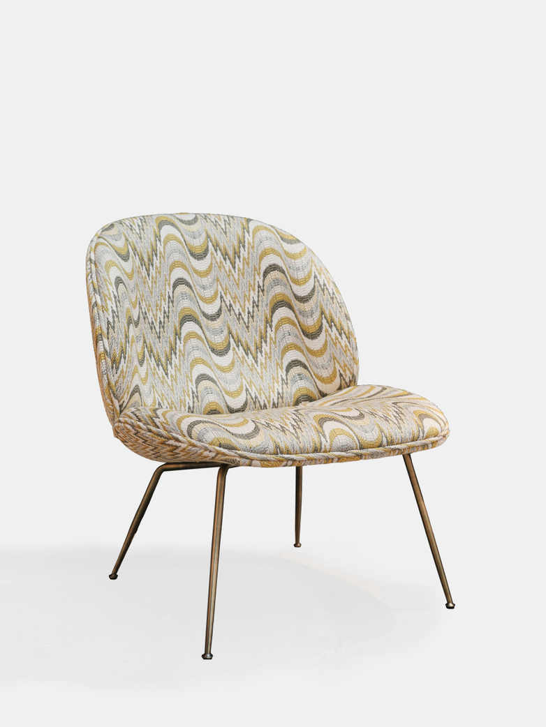 Sample Sale - Beetle Lounge Chair Fully Upholstered - Antique Brass Base - Flimflam