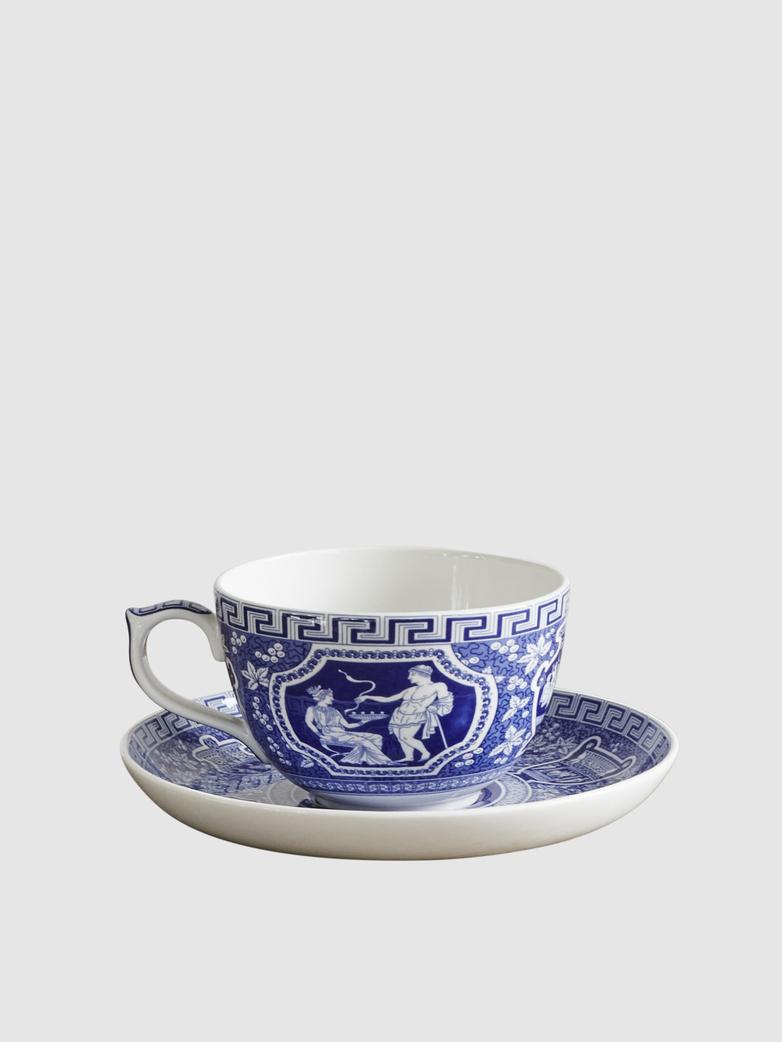Jumbo Cup with Saucer Greek
