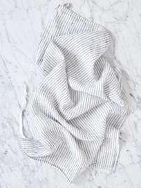 Dishtowel Linen Pyjama Stripes Black White