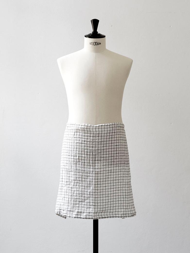Dishtowel Linen Check Black White