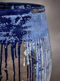 Blue Color Drip Urn